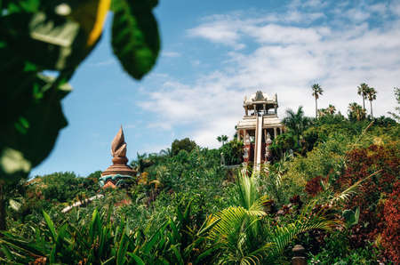 Tenerife, Canary Islands, Spain - May 27, 2017: Kamikaze or Tower of Power water attraction in Siam Park, Costa Adeje. The most spectacular theme park with water attractions in Europe.