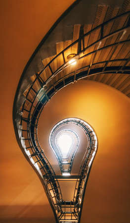 Photo pour Spiral Staircase in Prague. Stairs which in its perspective is like to light bulb. Czech Republic - image libre de droit
