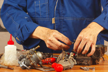 Repair of details of automobile engine in the workshop