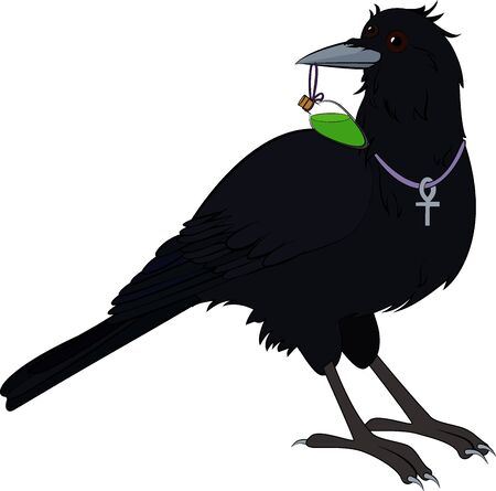 Illustration pour mystical raven bird with green poison isolated on white - image libre de droit