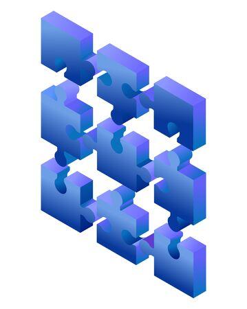 Photo pour Isometric blue gradient puzzle pieces isolated on white background. Concept of teamwork, communication, problem or challenge solution. - image libre de droit