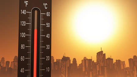 Thermometer Fahrenheit Celsius Heat IllustrationConcept of climate change, global warming, summer heat.