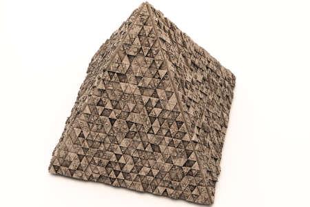 Mysterious Greeble Pyramid 3D Illustration