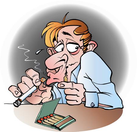 Vector cartoon illustration of a secret smoker