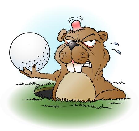 cartoon illustration of an angry prairie dog with a golf ball