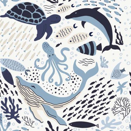 Illustration pour Set with hand drawn sea life elements. - image libre de droit