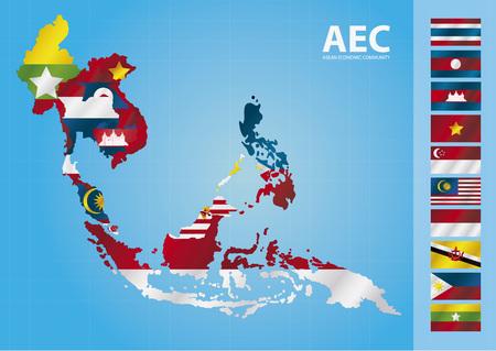 Illustration for AEC, ASEAN Economic Community - Royalty Free Image