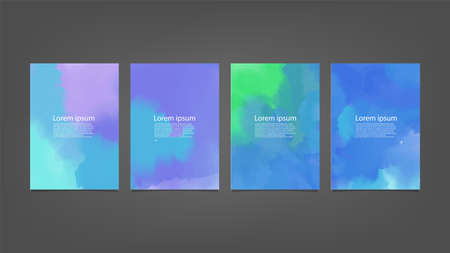 Illustration pour Set of colorful vector watercolor backgrounds for poster, brochure or flyer, Bundle of watercolor posters, flyers or cards. Banner template. - image libre de droit