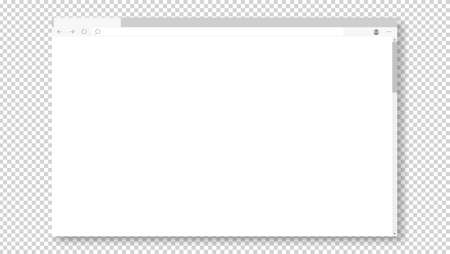 Illustration for Empty browser window on transparent background. Empty web page mockup with toolbar - Royalty Free Image