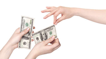 Hand giving money to other hand isolated  on white background