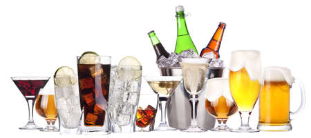 different images of alcohol set isolated - beer,martini,cola,champagne,wine,whiskey,juice