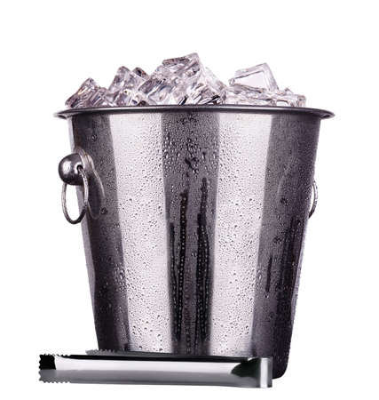 champagne  Metal ice bucket  isolated on a white baclground