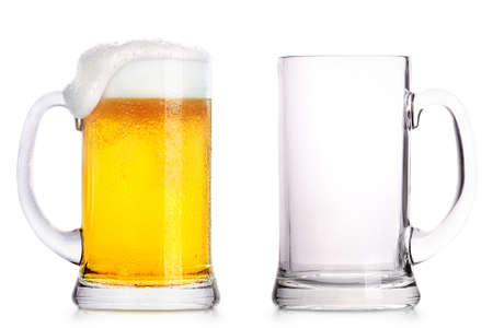 Photo pour Frosty glass of light beer and empty glass isolated on a white background - image libre de droit