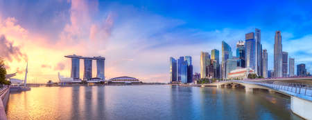 Photo for Vibrant panorama background of Singapore skyline at the business bay - Royalty Free Image