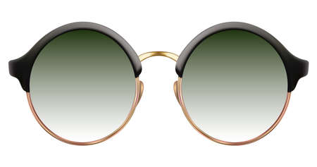 Realistic sunglasses with green gradient lens and round cat eye frame. Vector 3D illustration