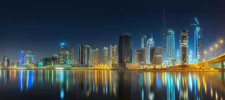 Photo pour Panoramic view of Dubai Business bay, UAE - image libre de droit