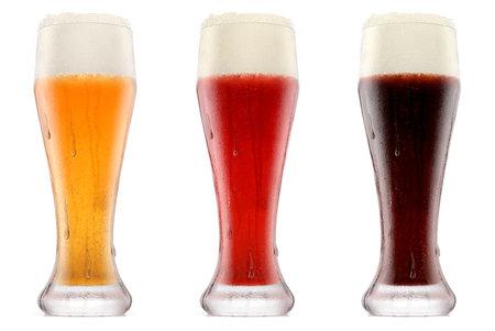 Photo pour Set of glasses of fresh beer with bubble froth - image libre de droit