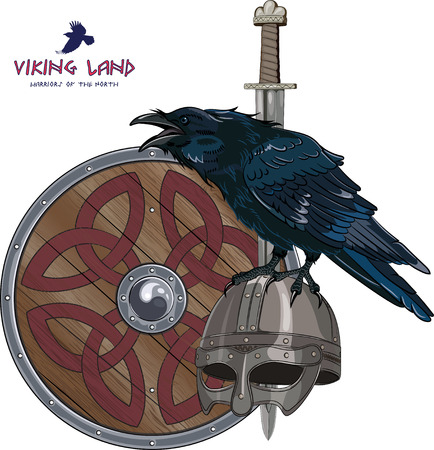 Illustration pour Design with Nordic sword, shield, Viking helmet and sitting on it Raven, isolated on white, vector illustration, eps-10 - image libre de droit