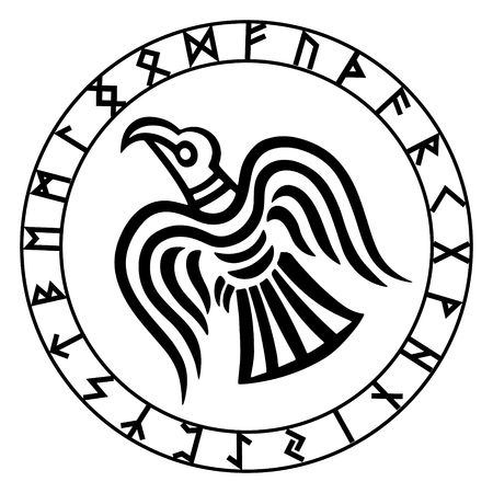 Illustration pour The runic circle. Futark. Inscribed into the rune circle Odin's Raven's, vector illustration - image libre de droit