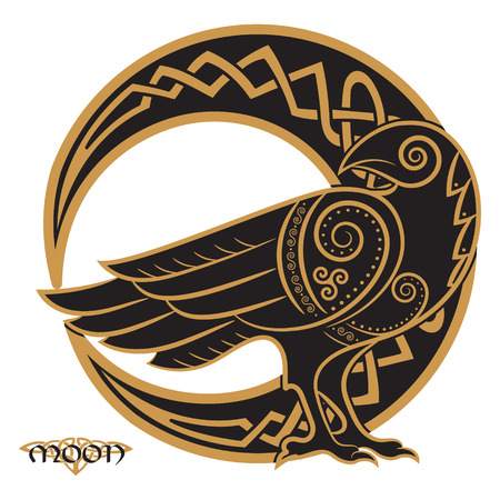 Illustration pour Raven hand-drawn in Celtic style, on the background of the Celtic moon ornament, isolated on white, vector illustration - image libre de droit