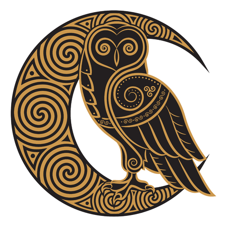 Ilustración de Owl hand-drawn in Celtic style, on the background of the Celtic moon ornament, isolated on white, vector illustration - Imagen libre de derechos