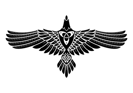 Illustration pour The Raven of Odin, In Norse, Celtic style, isolated on white, vector illustratin - image libre de droit