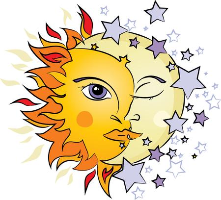Ilustración de Sun and Moon illustration - Imagen libre de derechos