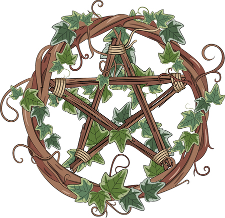 Ilustración de Vine wreath entwined with ivy and pentagram, isolated on white, vector illustration, eps-10 - Imagen libre de derechos