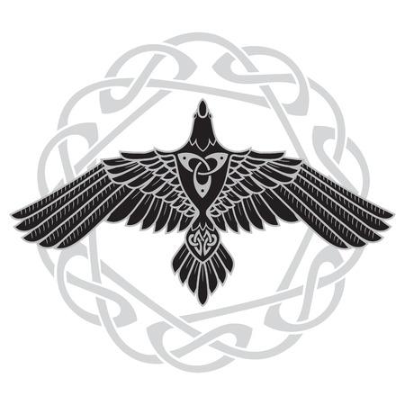Illustration pour The Raven of Odin, In Norse, Celtic style - image libre de droit