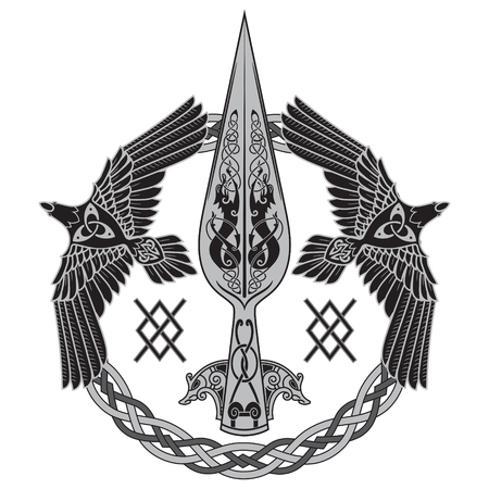 Illustration pour The Spear Of The God Odin - Gungnir. Two ravens and Scandinavian pattern - image libre de droit