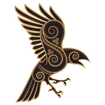 Illustration pour Odins Raven hand-drawn in Celtic style - image libre de droit