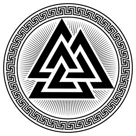 Illustration pour Valknut ancient pagan Nordic Germanic symbol, isolated on white, vector illustration - image libre de droit
