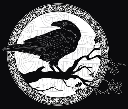 Illustration pour Black crow sitting on a branch of an oak tree, and Scandinavian runes, carved into stone. - image libre de droit