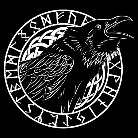 Illustration pour Cawing black crows, in a circle of Scandinavian runes, carved into stone, isolated on black, vector illustration - image libre de droit