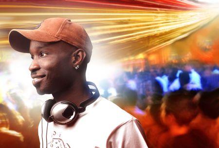 portrait of black deejay in a disco