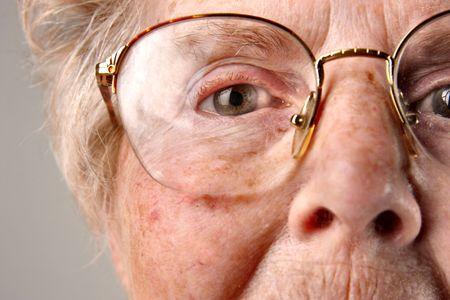 closeup of senior woman eye