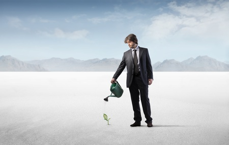 Businessman watering a little plant in the desert