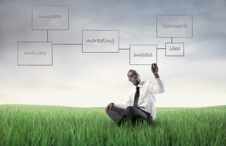 African businessman drawing a business plan on a green meadow