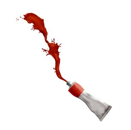 Paint tube splashing red paint