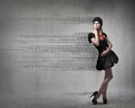 Foto de Beautiful elegant woman with numbers coming out from her clothes - Imagen libre de derechos