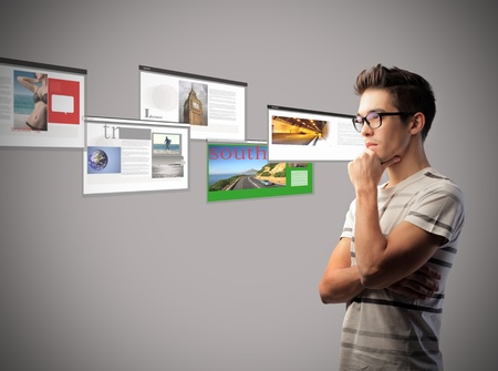 Young man with browser screenshots in the background