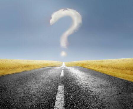 Photo pour Question mark over a countryside road - image libre de droit