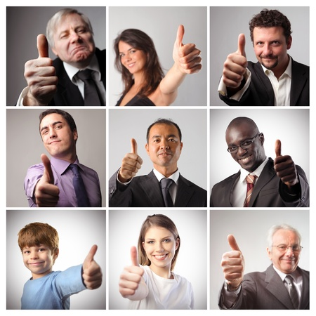 Composition of satisfied people with thumbs up