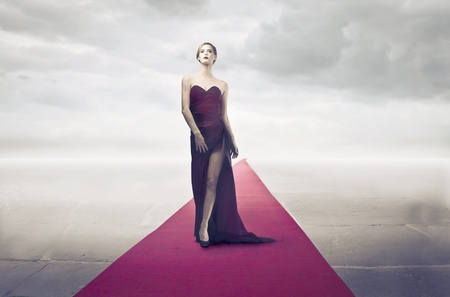 Beautiful elegant diva on the red carpet