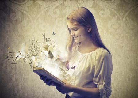 beautiful girl read book fantasy