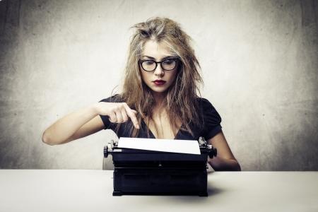 young writer with typewriter