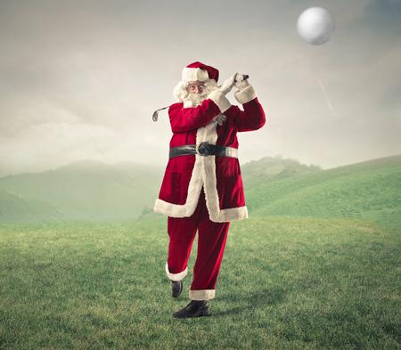 Santa Klaus playing golf