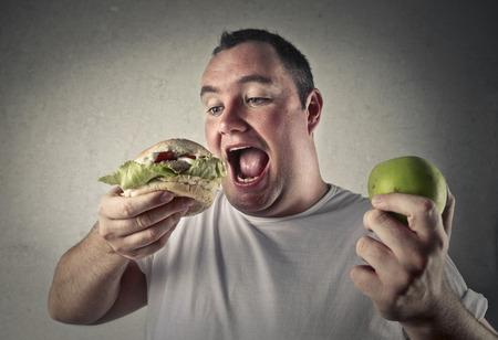 Apple and hamburger