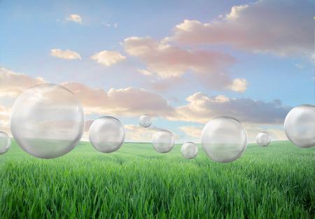 Bubbles in a green field