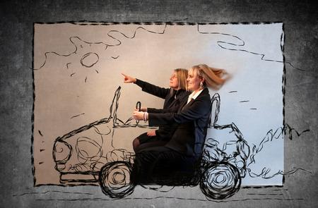 Foto de Mother and daughter driving a car - Imagen libre de derechos